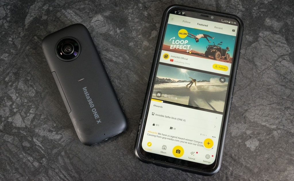 insta360 one x telefoon app